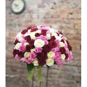 букет из 101 розы разного цвета (45 см)