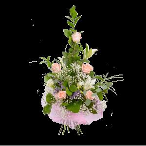 Каскадный букет из розы, лилии и зелени