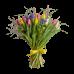 Весенний букет из 25 тюльпанов, ирисов и зелени