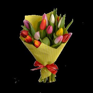 Букет из 15 тюльпанов в крафт-бумаге