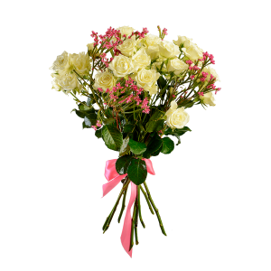Букет из 11 белых кустовых роз с эрикой