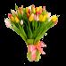 Букет из 75 тюльпанов разного цвета с атласной лентой