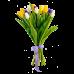 Букет из жёлтых, белых тюльпанов с ирисами