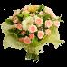 Букет из кустовой розы и герберы с зеленью