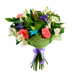 Нежный букет из розы, альстермерии и ирисов с зеленью