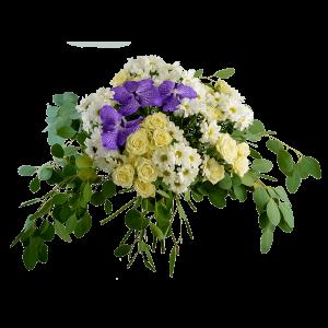 Букет из кустовой розы, хризантемы и ванды с зеленью