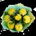 Букет из 7 крупных хризантем с зеленью