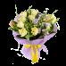 Букет из тюльпанов, эустомы с зеленью, в фетре с атласной лентой