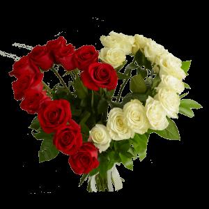 23 розы в форме сердца с зеленью