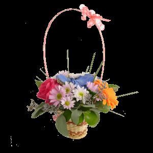 Корзиночка с цветами в ассортименте