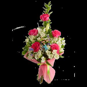 Каскадный букет из розы, альстермерии, лилии, татицы и зелени