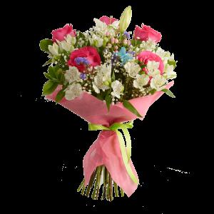 Круглый букет из розы, альстермерии, лилии, татицы и зелени