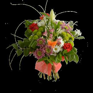 Сборный букет из хризантемы, розы, лилии, альстермерии и зелени