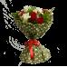 Букет из 9 красный роз с фрезией и зеленью