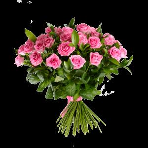 Букет из 51 розовой розы с зеленью