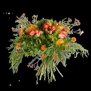Букет из кустовой розы, альстермерии и зелени