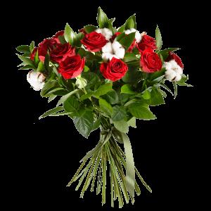 Букет из 15 красных роз и хлопка с зеленью