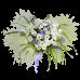 Букет из хризантем, ириса и зелени