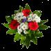 Букет из хризантем, герберы, эустомы, статицы и зелени