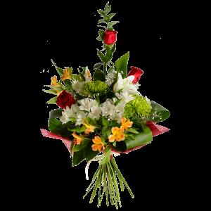 Букет из роз, лилии, альстермерии, хризантемы и зелени