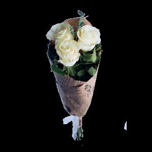 Букет из 3 белых роз в крафт-бумаге (70см)