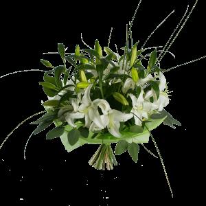 Букет из 5 лилий с зеленью и фетром