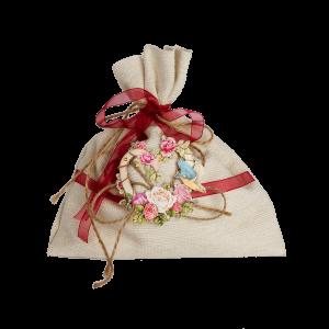 Мешочек для подарка с красной ленточкой и сердечком