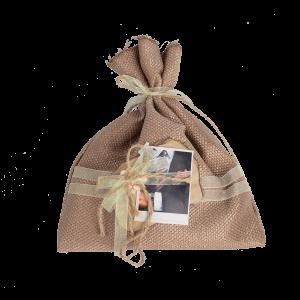 Мешочек для подарка с двумя желтыми ленточками