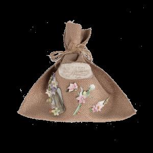 Мешочек для подарка с цветочками (поздравляю)
