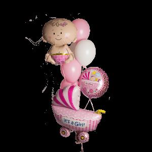 Композиция из гелиевых шаров для новорожденной девочки