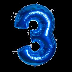Шар гелиевый в форме цифры 3