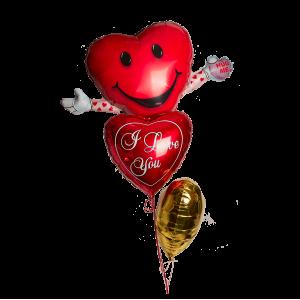 Композиция из гелиевых шаров с шаром в форме сердца с руками
