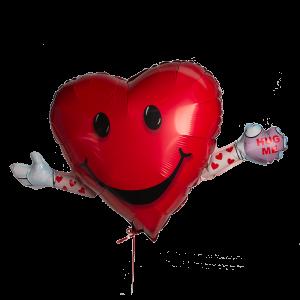 Шар гелиевый в форме сердца с руками