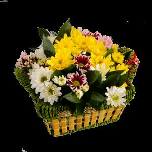 Корзина малая с хризантемой