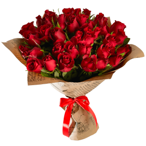 Букет из 51 красной розы в крафт-бумаге