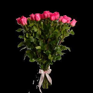 Букет из 31 розовой розы с атласной лентой