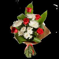 Букет из красной розы, хризантемы и зелени