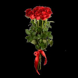 Букет из 9 роз (90 см) с атласной красной лентой