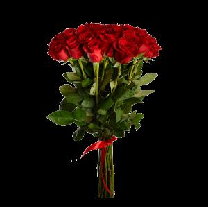 Букет из 25 красных роз (90 см) с атласной красной лентой