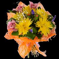 Букет из хризантемы, орхидеи, ирисов и зелени (оформлен сезалью)