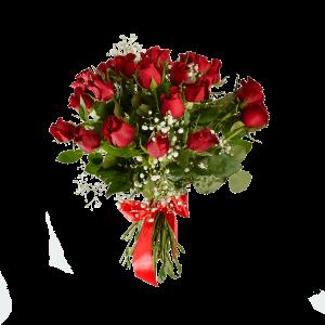 Букет из 25 красных роз с зеленью и атласной лентой