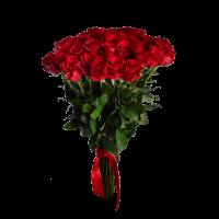 Букет из 51 красной розы (90 см) с атласной лентой
