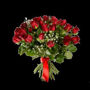 Букет из 51 красной розы с зеленью и атласной ленты