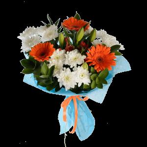 Букет из гербер, хризантемы, лилии, альстермерии и зелени с фетром