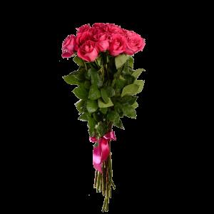 Букет из 11 розовых роз (90 см) с атласной лентой