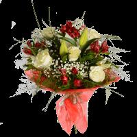 Букет из белой розы, альстермерии, лилии и зелени с фетром