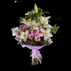 Букет из орхидеи, хризантемы, лилии и зелени с фетром