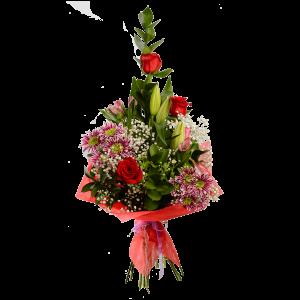Каскадный букет из розы, хризантемы, лилии и зелени в фетре