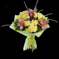Букет из орхидеи, хризантемы, ирисов и зелени в фетре