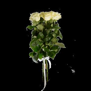 Букет из 7 белых роз (90 см) с атласной лентой